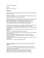 classical conditioning study resources 4 pages psyc unit 3 study guide