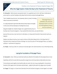 Polyvagal Theory Chart Stephen Porges How Polyvagal Theory Can Strengthen Trauma Work