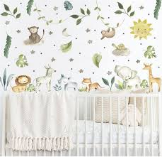 baby room wall decor watercolor safari