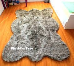 wolf skin rug fake fur 5 x 7 gray thick faux rugs plush by animal with