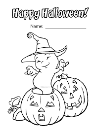 Halloween Funny Ghost Coloring Page For