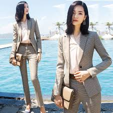 <b>New Spring autumn Women</b> Plaid Pant Suits Professional Pantsuits ...