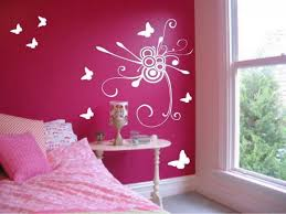 Attractive Bedroom Wall Decoration Ideas Pink Color Schemes Decor Ideas For Your  Teenager Girl And Get Beauty With Butterfly Sticker