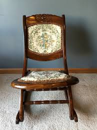 antique folding rocking sewing chair victorian tapestry for ori img gorgeous wooden seat and back cushion