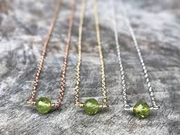 Tiny August Birthstone Necklace Genuine Faceted Green Peridot Sterling Silver 14k Yellow Gold Filled 14k Rose Gold Filled