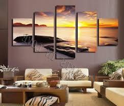 2018 hot diamond sunset beach stone modern home wall decor in trendy canvas wall art