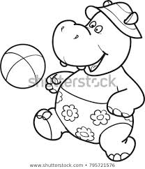 Coloring Page Outline Cartoon Cute Hippo Stock Vector Royalty Free