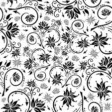 黒とグレーの色のシームレス花柄背景のイラスト