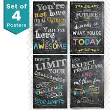 Motivational And Inspirational Posters And Classroom Decorations Wall Art Quotes Multicolor Perfect For Office Or Kids Room Chalkboard Positive