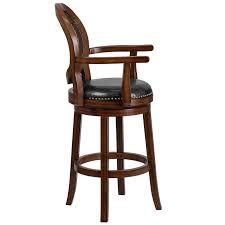 wood barstool with arms woven rattan back and black leather thumbnail thumbnail thumbnail thumbnail