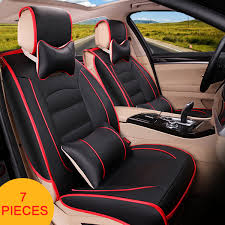 universal 5 seats car pu leather front car seat cover rear back seat covers cushion pillows com