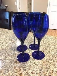 cobalt blue wine glasses details about 4 cobalt blue wine glasses long stem tall elegant oz