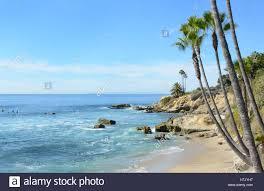 Cove In Laguna Beach California With Catalina Island In The