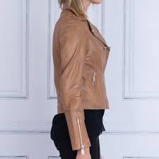 leather biker jacket in cognac
