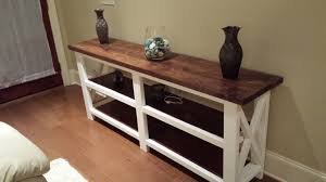 Rustic X Console Table (The Beginning)