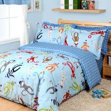com cartoon monkey duvet cover set sky blue boys bedding kids bedding