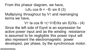 power angle equation of a synchronous machine
