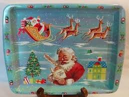 Daher Decorated Ware Tray Made In England New Vintage Santa Daher Decorated Ware Tin Tip Tray Made In England