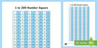 1 To 200 Number Square Irish Teacher Made