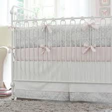 pink and gray damask crib bedding