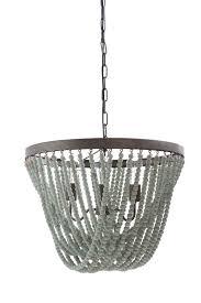 21 1 2 l metal wood chandelier w beads 3 bulbs 6 chain