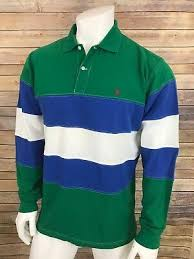 vintage polo ralph lauren striped rugby shirt green blue white size large euc