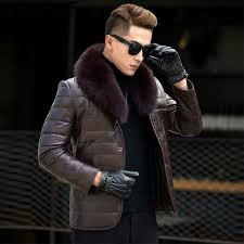 ayunsue genuine leather jacket men fox fur collar mens winter down jackets korean slim coat man