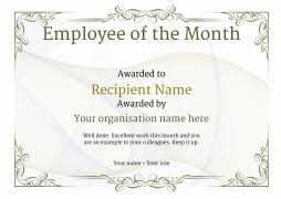 Printable Employee Of The Month Certificates Employee Of The Month Certificate Free Well Designed Templates