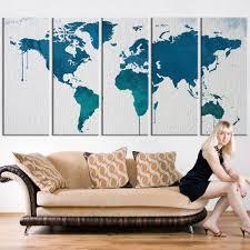turquoise office decor. Canvas Art Print, Turquoise Blue World Map Art, Extra Large Wate Office Decor U