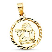 Gold Coin Pendant Designs Details About Angel Coin Pendant 14k Yellow Gold Solid Round Medallion Charm Christian Design