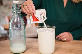 kefir milk. mix in 1 packet easy kefir with a spoon or whisk until all ingredients are thoroughly combined. milk e