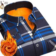 Aoliwen Fashion Men's Slim Shirt <b>Autumn And Winter Thickening</b> ...