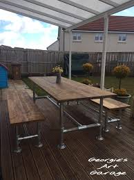 industrial style outdoor furniture. Unique Extremely Solid Hand Made Industrial Style OUTDOOR/GARDEN/PATIO Table And Benches Outdoor Furniture