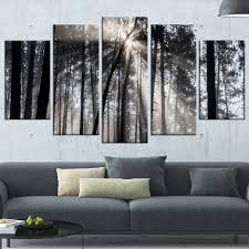 sunbeams through black white forest 5 piece wall art on wrapped canvas set  on cheap black and white canvas wall art with designart sunbeams through black white forest 5 piece wall art on