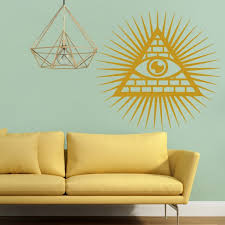 illuminati symbol wall sticker eye light circle wall decal decorative home decor