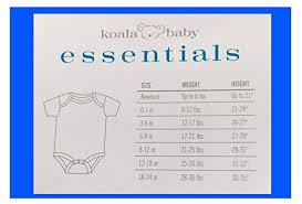 Koala Baby Shoes Size Chart Amazon Com Koala Baby Essentials Short Sleeve Bodysuits