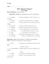 the miracle worker act i quiz by jennifer moore tpt  the miracle worker act i quiz