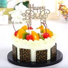 Fruit Cake With Happy Birthday Topper Lowest Price Same Day Gift