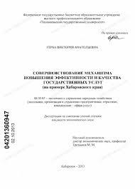 Диссертация на тему Совершенствование механизма повышения  Диссертация и автореферат на тему Совершенствование механизма повышения эффективности и качества государственных услуг