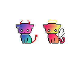 cute devil kitty and angel kitty