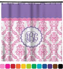 glam shower curtain pink white purple damask shower curtain personalized