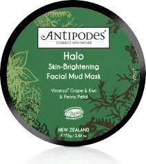 antipodes halo skin brightening mud mask 75 g