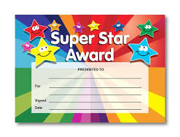 Star Student Certificates Certificate Super Star Award Smiley Stars
