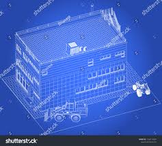 Architectural design blueprint Storey House Architectural Design Blueprint Public Building Exhibition Hall Construction Machinery Cranes Bulldozers Excavators With Parking Architectural Building Components Inc Architectural Design Blueprint Public Building Exhibition Stock