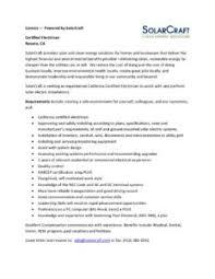 Electrician Job Description Certified Electrician Job Description Solarcraft Solarcraft