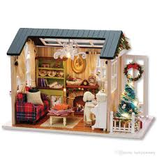 wooden house furniture. CUTEROOM DIY Wooden House Furniture Handcraft Miniature Box Kit With LED Light - Holiday Time Christmas Gifts Doll Model Learning Toys U
