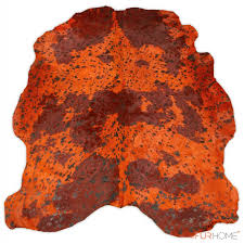 orange bordo cowhide rug volcano in free shape