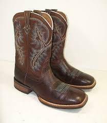 mens ariat brown distressed leather square toe cowboy