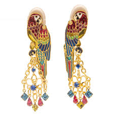 lunch at the ritz creme de macaw goldtone drop dangle clip earrings s women jewelry anniversary party gift rare from esme s vault