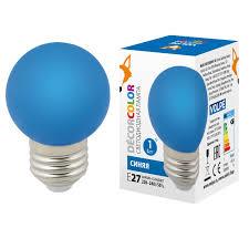 (UL-00005647) <b>Volpe</b> E27 1W синяя <b>LED</b>-<b>G45</b>-<b>1W</b>/<b>BLUE</b>/<b>E27</b>/<b>FR/С</b>